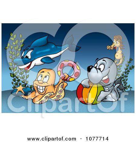 Clipart Sea Creatures Playing At The Bottom Of The Ocean - Royalty Free Illustration by dero
