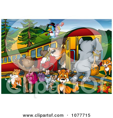 Clipart Animals Around A Train At A Stop - Royalty Free Illustration by dero