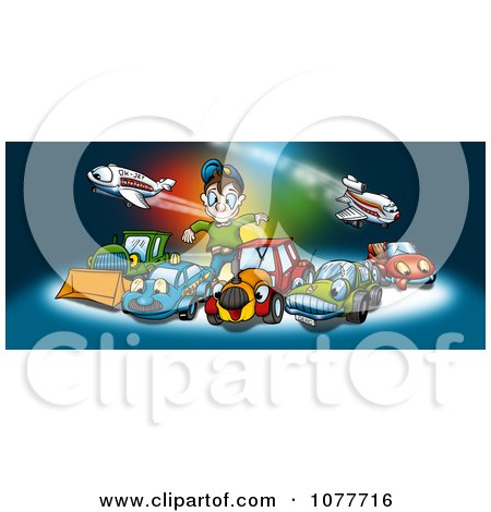 Clipart Boy Playing With Cars And Airplanes - Royalty Free Illustration by dero