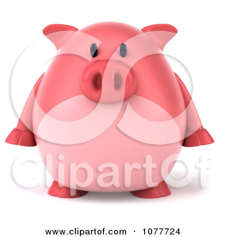 Clipart 3d Chubby Pig Facing Front - Royalty Free CGI Illustration by Julos