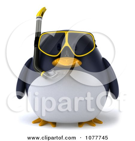 Clipart 3d Chubby Snorkel Penguin Facing Front - Royalty Free CGI Illustration by Julos