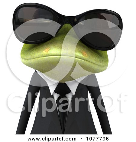 Clipart 3d Business Springer Frog Wearing Shades And A Suit 1 - Royalty Free CGI Illustration by Julos