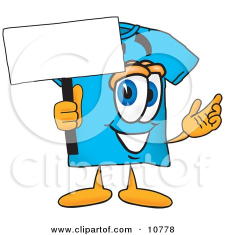 Clipart Picture of a Blue Short Sleeved T-Shirt Mascot Cartoon Character Holding a Blank Sign by Toons4Biz