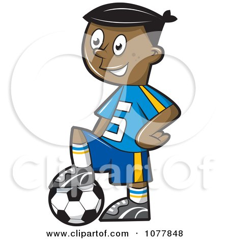 Black Boy Resting His Foot On A Soccer Ball Posters, Art Prints