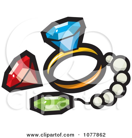 Clipart Treasure Gems And Jewelery - Royalty Free Vector Illustration by jtoons