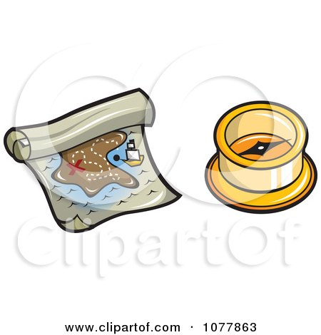 Clipart Pirate Treasure Map And Compass - Royalty Free Vector Illustration by jtoons