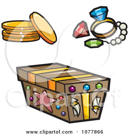 Clipart Pirate Booty And A Treasure Chest - Royalty Free Vector Illustration by jtoons