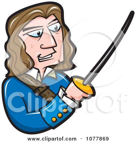 Clipart Erol Flynn Holding A Sword - Royalty Free Vector Illustration by jtoons