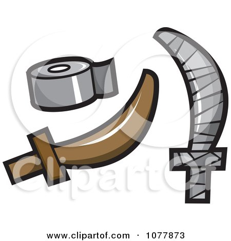 Clipart Cardboard Pirate Sword Covered In Duct Tape - Royalty Free Vector Illustration by jtoons