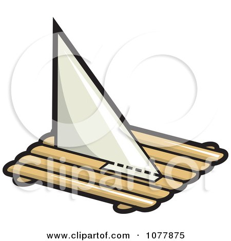Clipart Log Pirate Boat With A Sail - Royalty Free Vector Illustration by jtoons