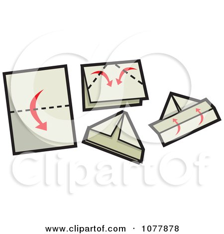 Clipart Sailboat Paper Folding Guide - Royalty Free Vector Illustration by jtoons