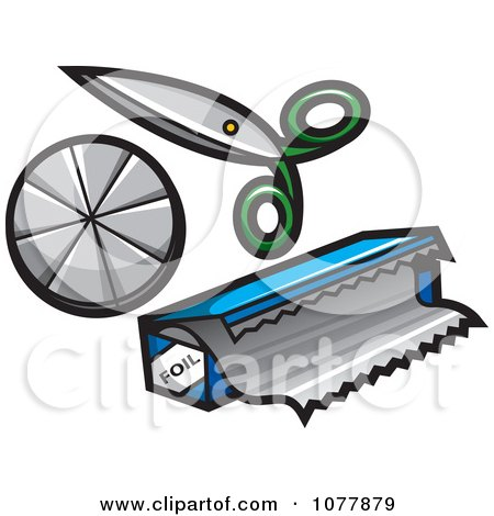 Clipart Scissors And Foil - Royalty Free Vector Illustration by jtoons