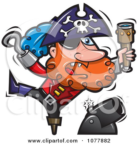 Clipart Pirate Shooting Off A Cannon Royalty Free Vector Illustration
