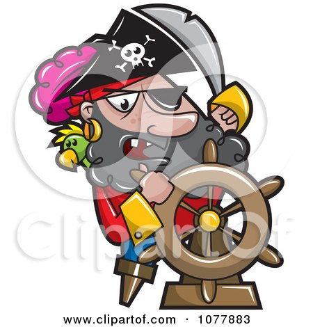 Clipart Pirate Captian Steering - Royalty Free Vector Illustration by jtoons