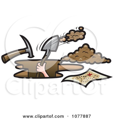 Clipart Pirate Digging For Treasure - Royalty Free Vector Illustration by jtoons