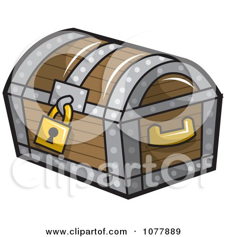 Clipart Locked Wooden Treasure Chest - Royalty Free Vector Illustration by jtoons