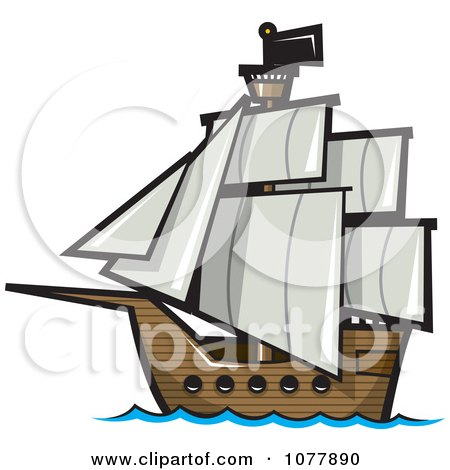 Clipart Pirate Sailing Ship - Royalty Free Vector Illustration by jtoons