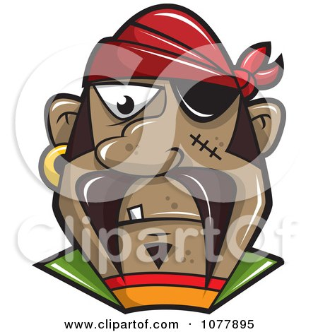 Clipart Pirate With An Eye Patch - Royalty Free Vector Illustration by jtoons