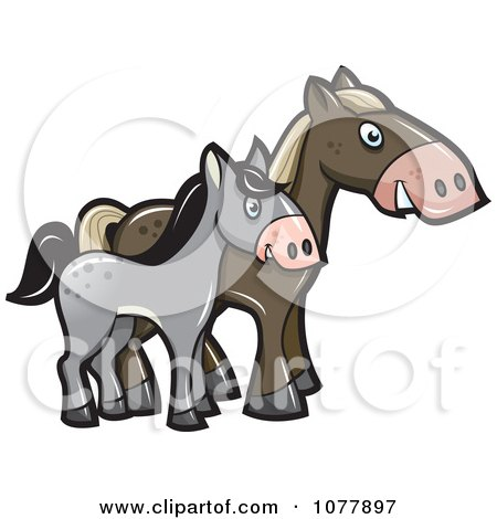 Clipart Horse And Pony Side By Side - Royalty Free Vector Illustration by jtoons