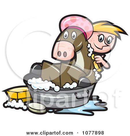 Clipart Girl Bathing Her Horse In A Tub - Royalty Free Vector Illustration by jtoons