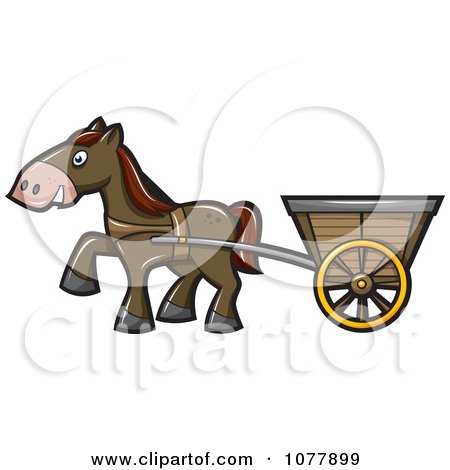 Clipart Horse Pulling A Cart - Royalty Free Vector Illustration by jtoons
