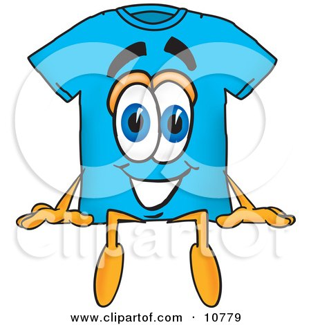 Clipart Picture of a Blue Short Sleeved T-Shirt Mascot Cartoon Character Sitting by Toons4Biz