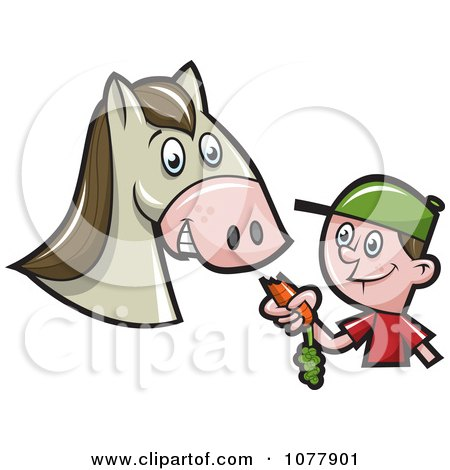 Clipart Boy Feeding A Horse A Carrot - Royalty Free Vector Illustration by jtoons
