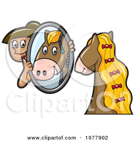 Clipart Horse Groomer Holding Up A Mirror For Her Pony - Royalty Free Vector Illustration by jtoons