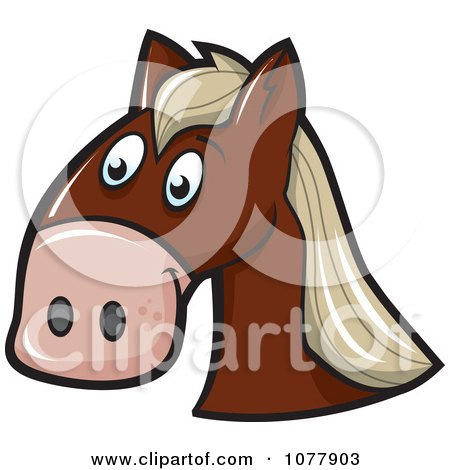 Clipart Brown Horse Face - Royalty Free Vector Illustration by jtoons