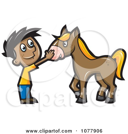 Clipart Boy Petting A Horse - Royalty Free Vector Illustration by jtoons