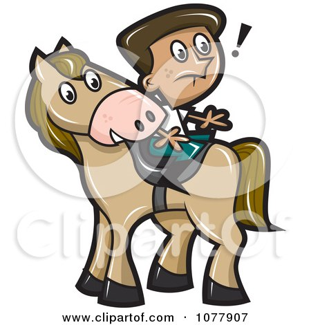 Clipart Boy Sitting Backwards On A Horse - Royalty Free Vector Illustration by jtoons