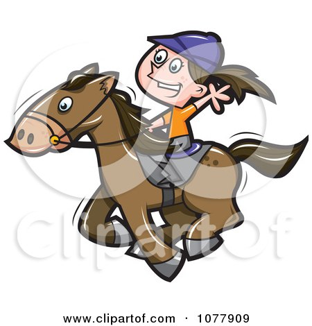 Clipart Girl Riding A Horse - Royalty Free Vector Illustration by jtoons