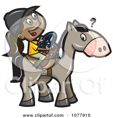 Clipart Girl Trying To Steer A Horse With A Wheel - Royalty Free Vector Illustration by jtoons