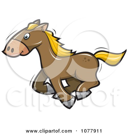 Clipart Brown Horse Running - Royalty Free Vector Illustration by jtoons