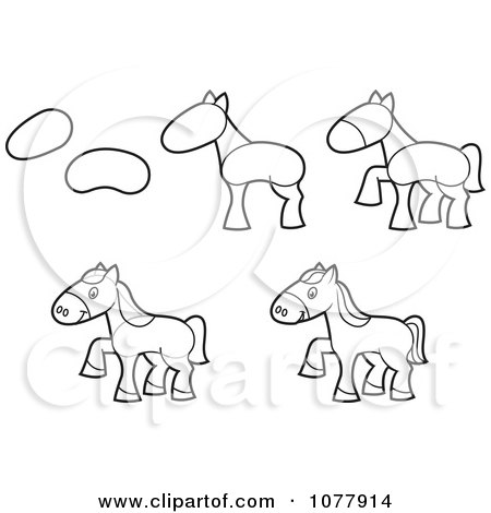 Clipart How To Draw A Horse Sketches - Royalty Free Vector Illustration by jtoons
