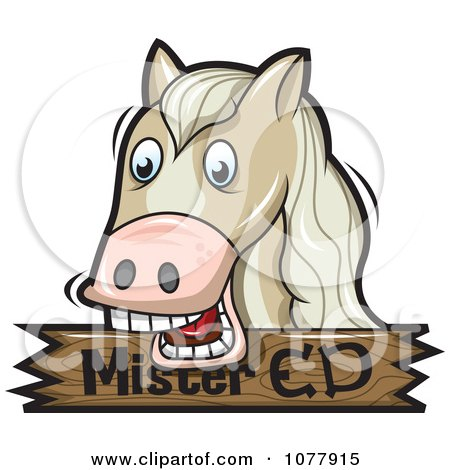 Clipart Horse Over A Mister Ed Sign - Royalty Free Vector Illustration by jtoons