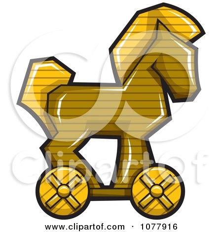 Clipart Wooden Trojan Horse - Royalty Free Vector Illustration by jtoons
