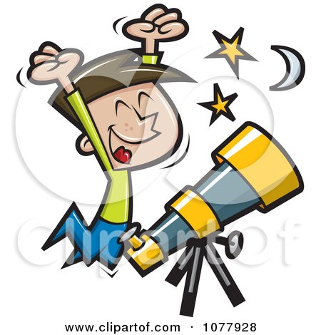 Clipart Happy Boy Jumping By A Telescope - Royalty Free Vector Illustration by jtoons