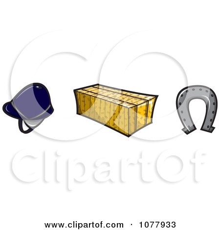 Clipart Helmet Hay Bale And Horse Shoe - Royalty Free Vector Illustration by jtoons