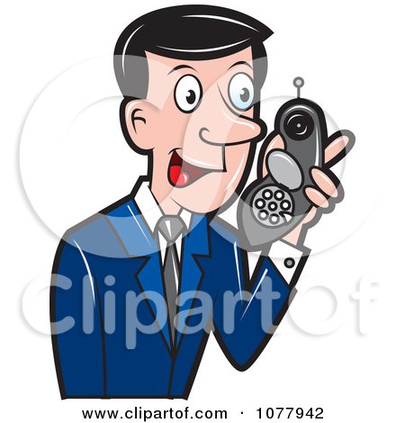 Clipart Spy Talking On A Strange Phone - Royalty Free Vector Illustration by jtoons