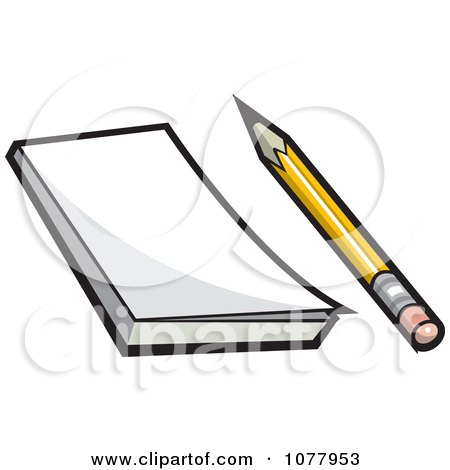 Clipart Pencil And Note Pad - Royalty Free Vector Illustration by jtoons