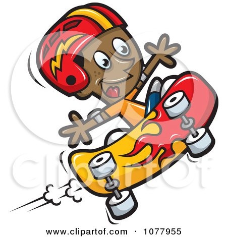 Clipart Black Boy Skateboarding With A Helmet - Royalty Free Vector Illustration by jtoons