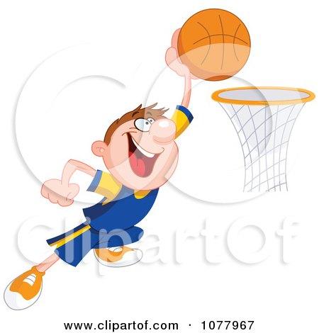Clipart Basketball Player Making A Slam Dunk - Royalty Free Vector Illustration by yayayoyo