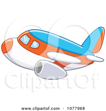 Clipart Blue Orange And White Airplane - Royalty Free Vector Illustration by yayayoyo