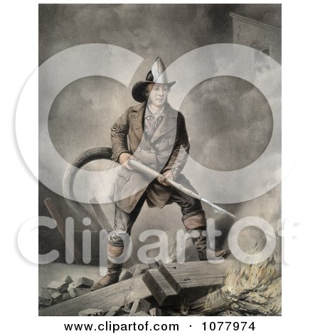 Brave Fireman Extinguishing a Building Fire With a Hose - Royalty Free Historical Clip Art  by JVPD