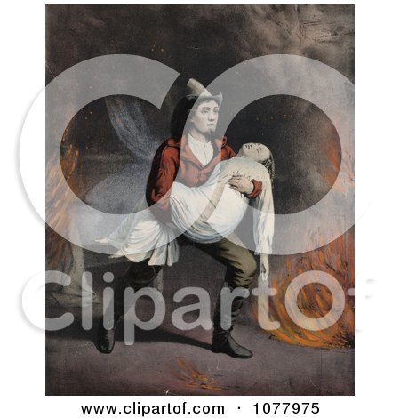 Stock Photography of a Brave Fireman Carrying a Girl in His Arms While Rescuing Her From a Fire - Royalty Free Historical Clip Art  by JVPD