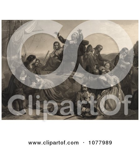 Pilgrims Preparing For Departure to America - Royalty Free Historical Clip Art  by JVPD