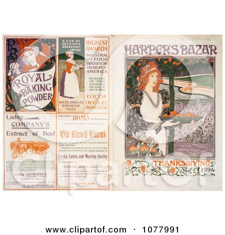 Front and Back Covers of Harper's Bazar Thanksgiving of 1894 Magazine - Royalty Free Historical Clip Art  by JVPD