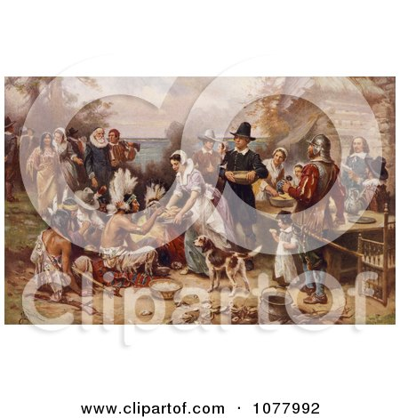 The First Thanksgiving, 1621 by Jean Louis Gerome Ferris - Royalty Free Historical Clip Art  by JVPD