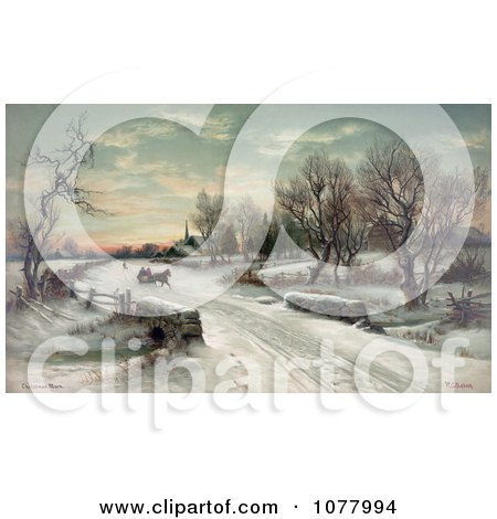 Couple Riding In A Horse Drawn Sleigh on Christmas Morning - Royalty Free Historical Clip Art by JVPD